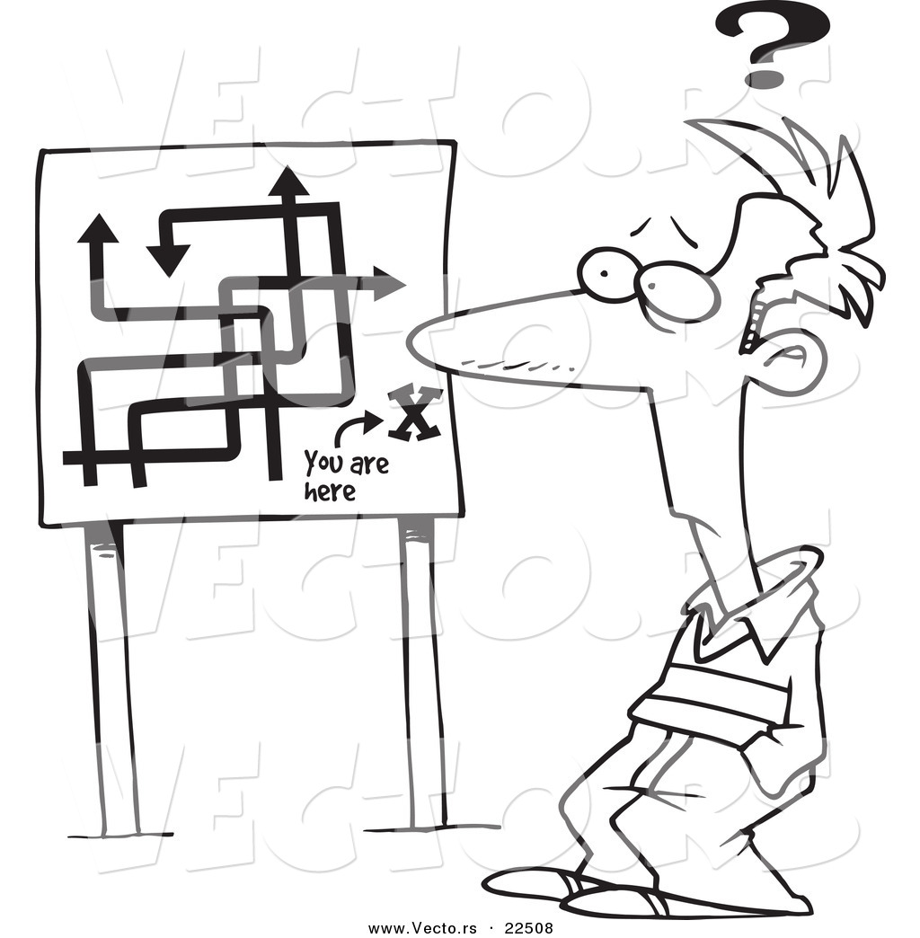 vector of a cartoon confused man viewing a map sign coloring