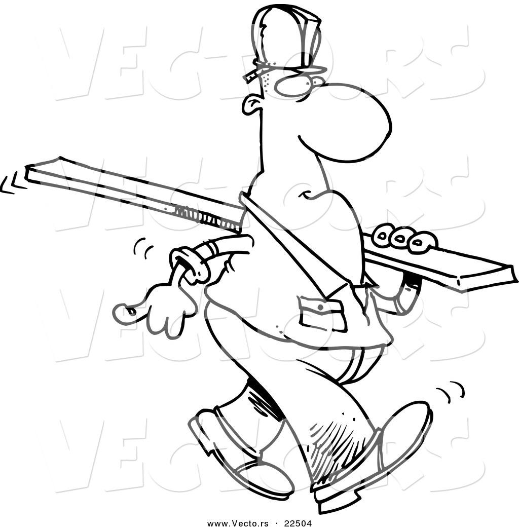 vector of a cartoon construction worker carrying a wood slat