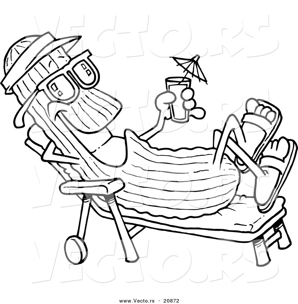 Vector Of A Cartoon Cool Cucumber In A Lounge Chair   Coloring Page Outline