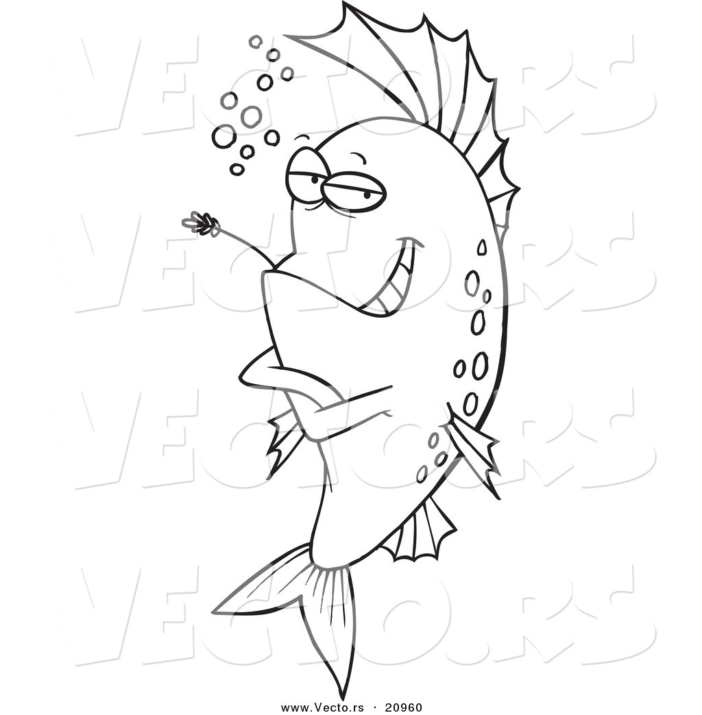 vector of a cartoon cool fish chewing on straw coloring page
