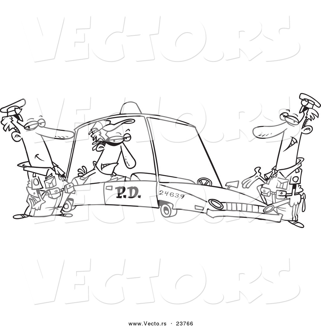 vector of a cartoon cops with a robber in a squad car