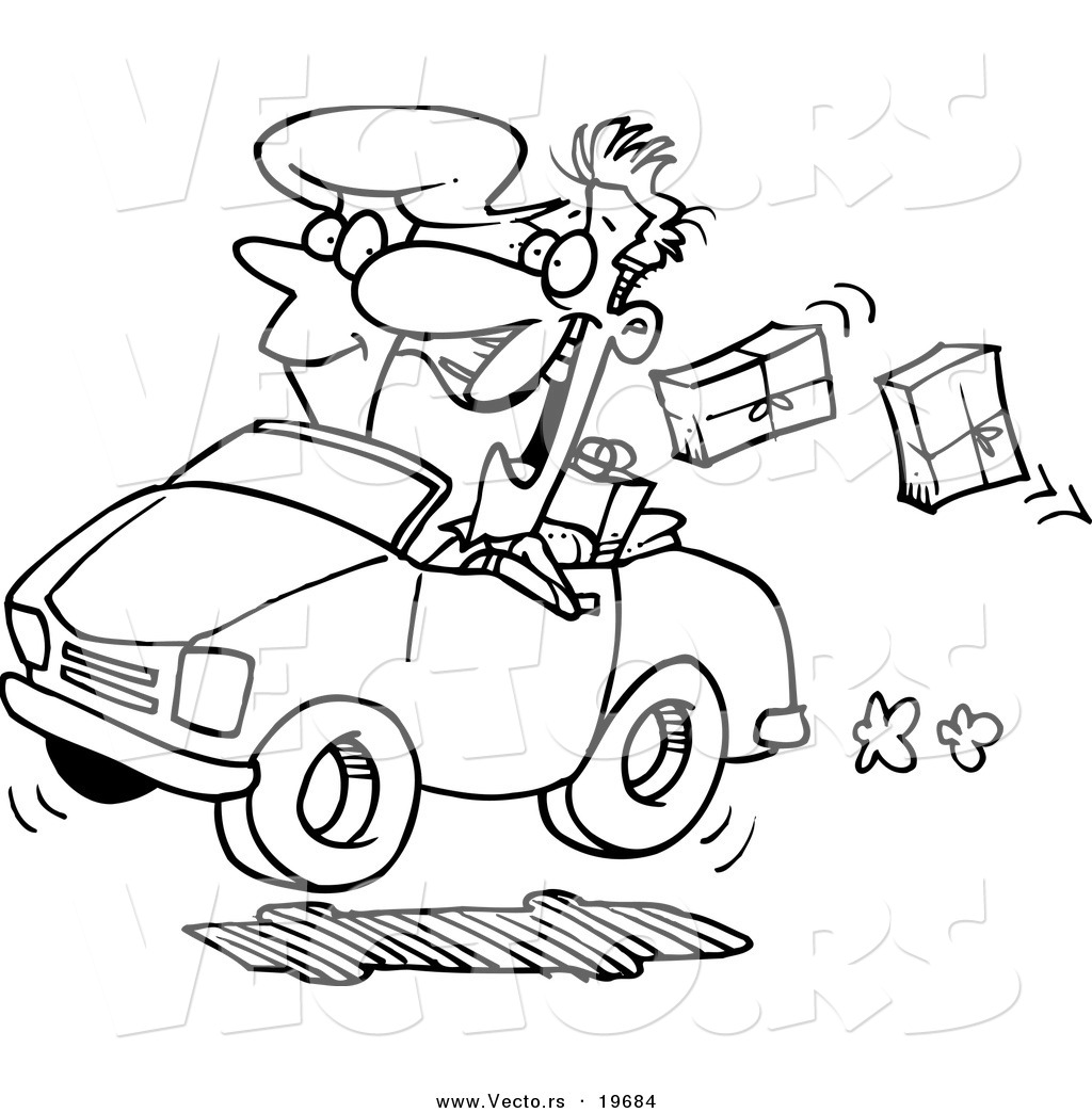 vector of a cartoon couple in a car dropping packages outlined
