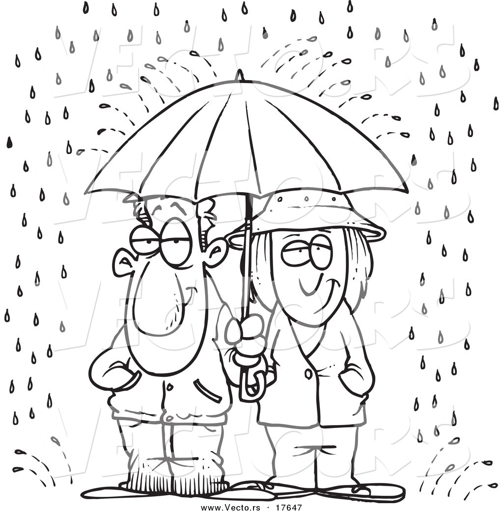 vector of a cartoon couple sharing an umbrella in the rain coloring page outline