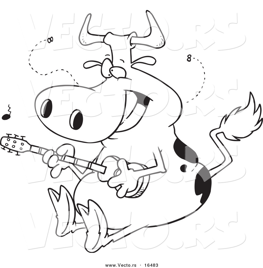 Vector Of A Cartoon Cow Guitarist