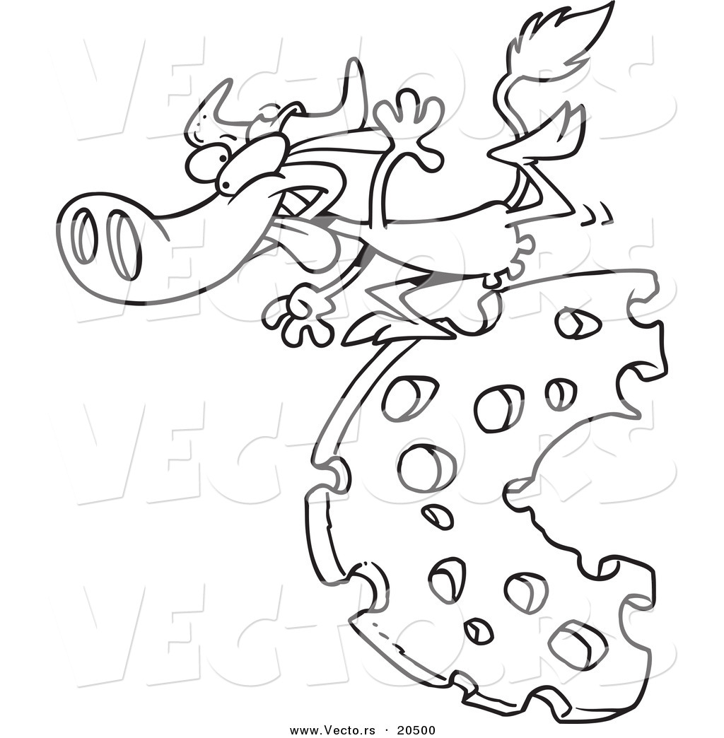 vector of a cartoon cow running on cheese coloring page outline