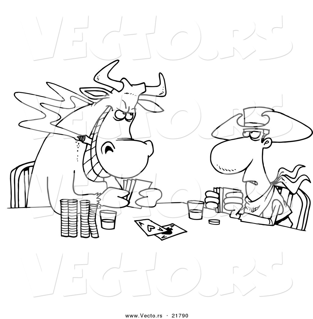 vector of a cartoon cowboy and bull playing poker outlined
