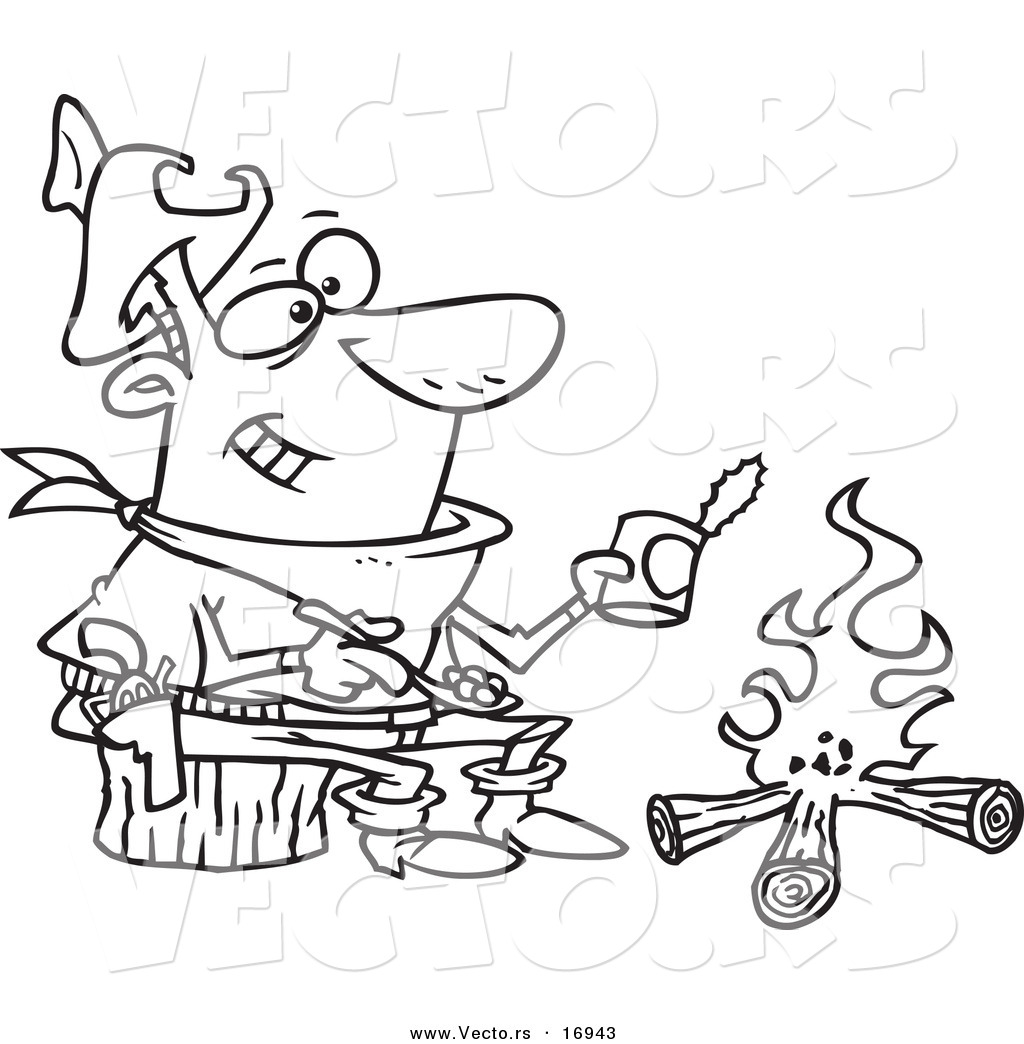 vector of a cartoon cowboy baking beans over a camp fire