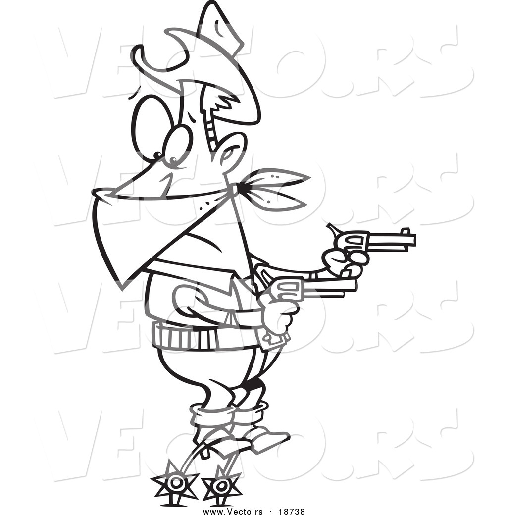 high resolution royalty free vector graphic of a cartoon cowboy balanced on his spurs during a hold up outlined coloring page this robber stock image