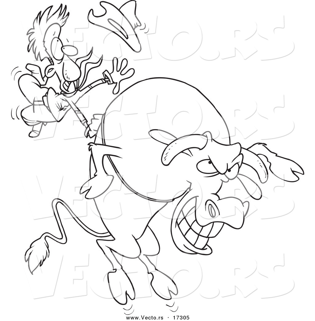 vector of a cartoon cowboy riding a giant bull coloring page outline