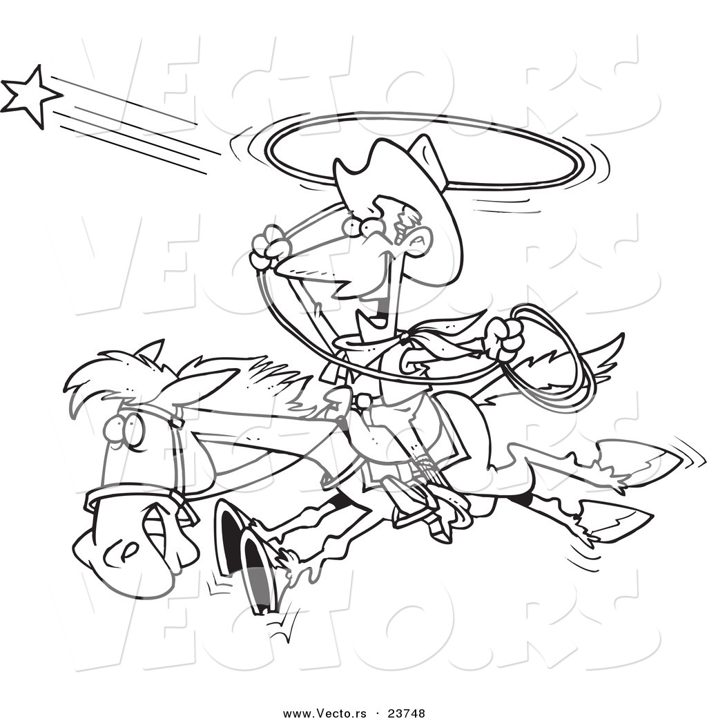 vector of a cartoon cowboy trying to catch a star coloring page