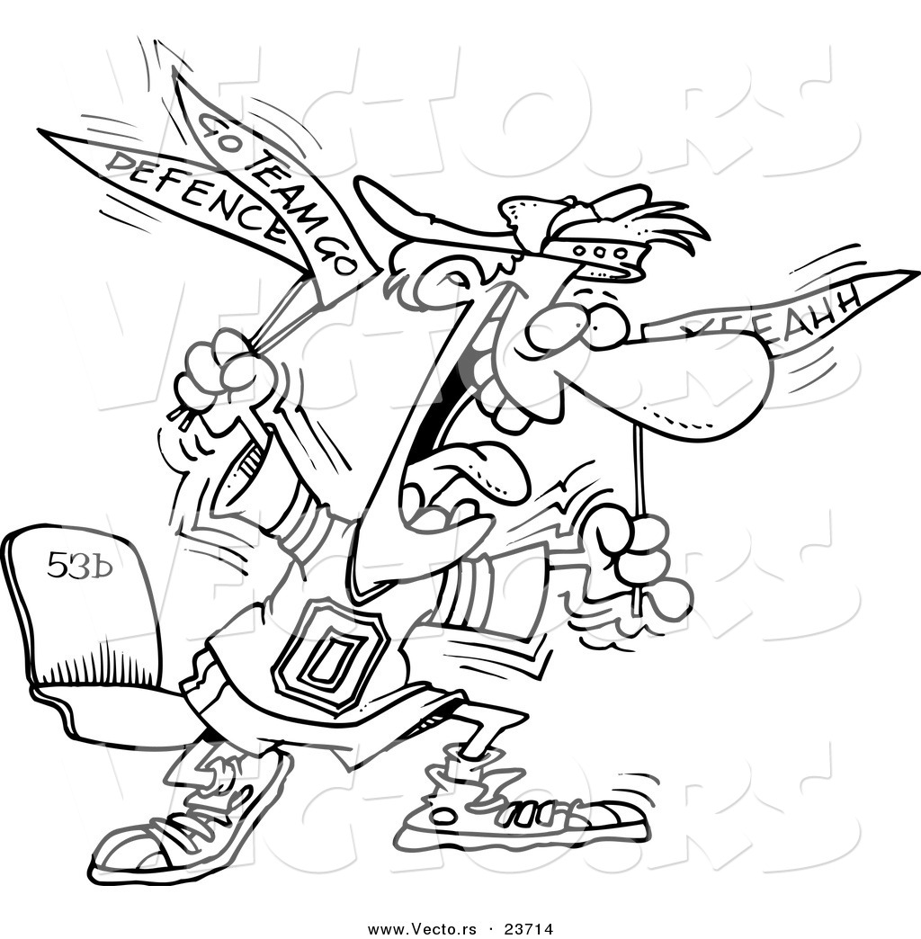 vector of a cartoon crazy sports fan coloring page outline by
