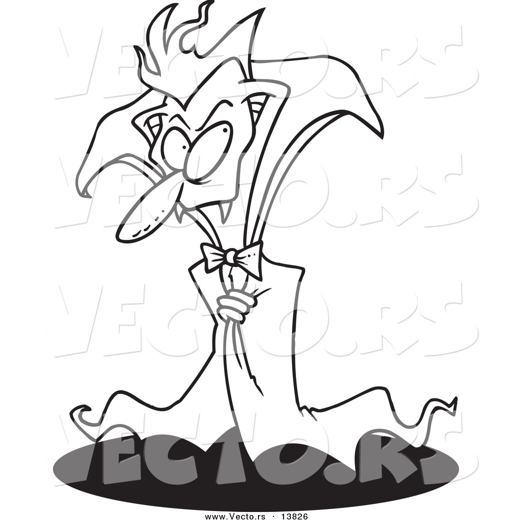 vector of a cartoon creepy old vampire coloring page outline by