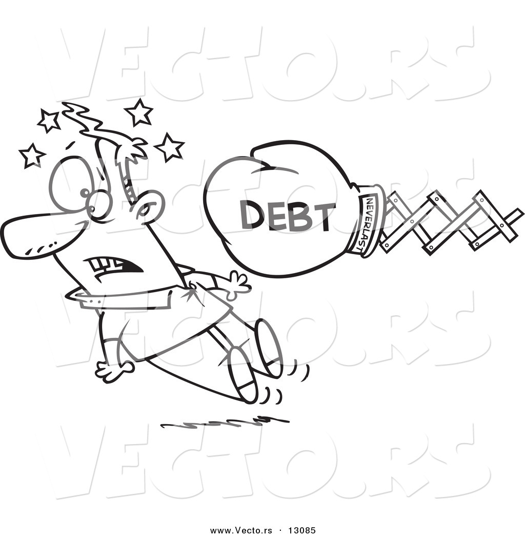 Vector of a Cartoon Debt Boxing Glove Knocking out a Man