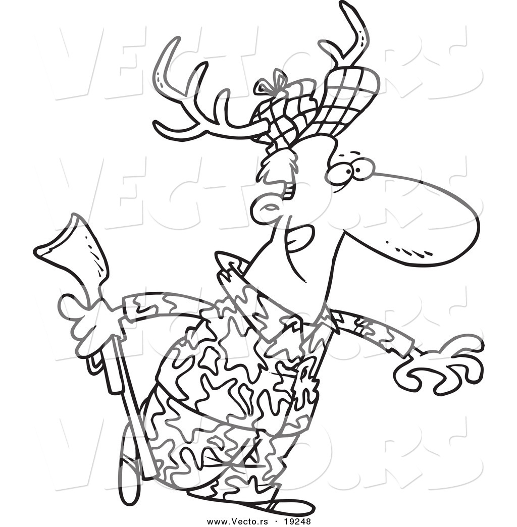 Vector of a Cartoon Deer Hunter Wearing Antlers Outlined