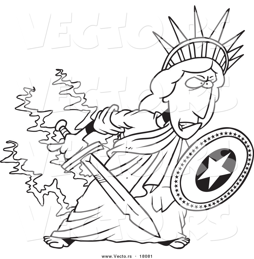 vector of a cartoon defensive statue of liberty holding a shield and sword outlined coloring