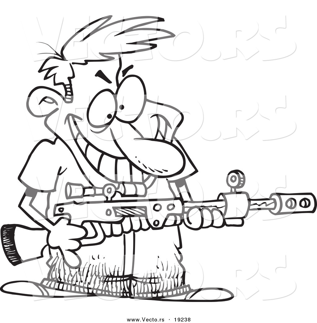 Coloring pages guns - Vector Of A Cartoon Demented Man Holding A Gun Outlined Coloring Page