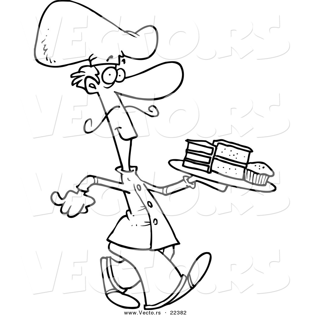 Vector Of A Cartoon Dessert Chef Coloring Page Outline By Toonaday