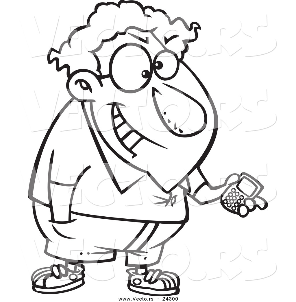 Vector of a Cartoon Devious Nerd with a Gadget Black and White ...