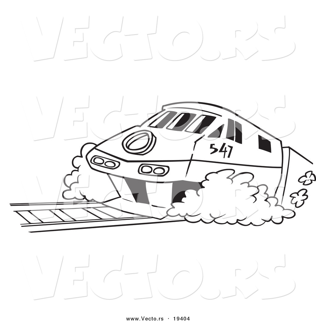 Diesel train coloring pages - Vector Of A Cartoon Diesel Tram Outlined Coloring Page