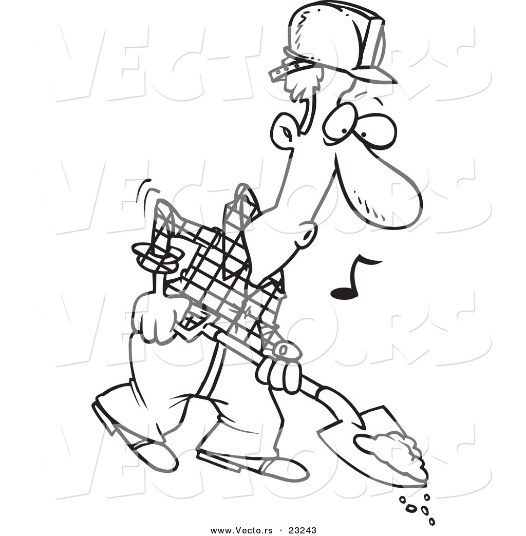 Vector of a Cartoon Digging Construction Worker - Coloring Page ...