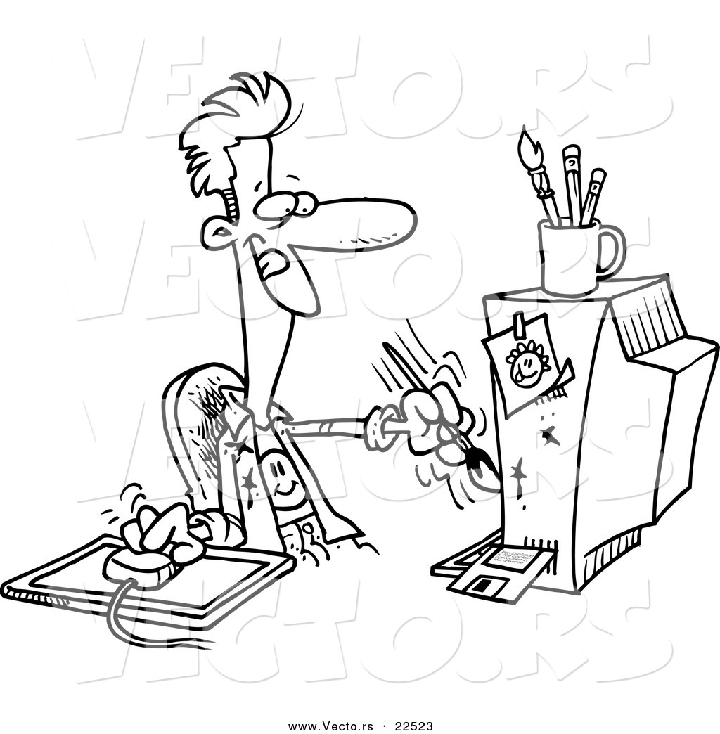 Vector of a Cartoon Digital Artist Man - Coloring Page Outline by ...