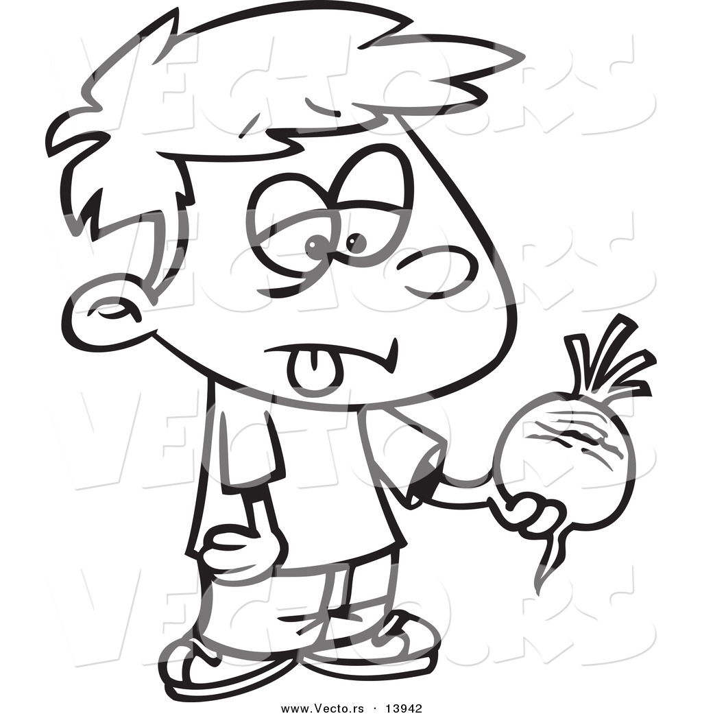 Vector of a cartoon disgusted boy holding a turnip for Turnip coloring page
