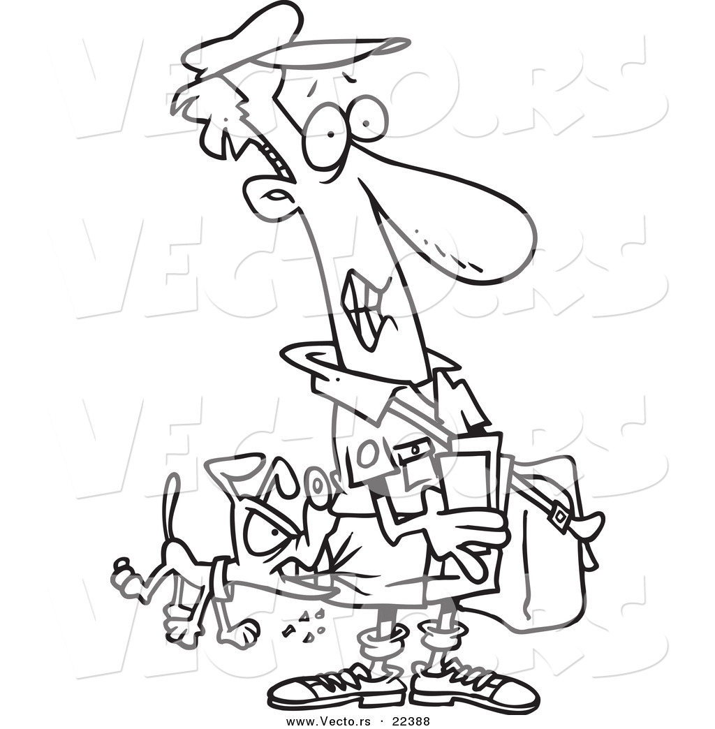 vector of a cartoon dog biting a mail man coloring page outline
