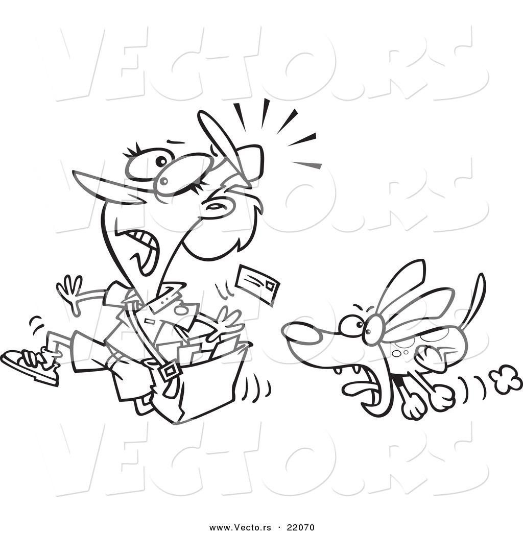 vector of a cartoon dog chasing a mail woman outlined coloring