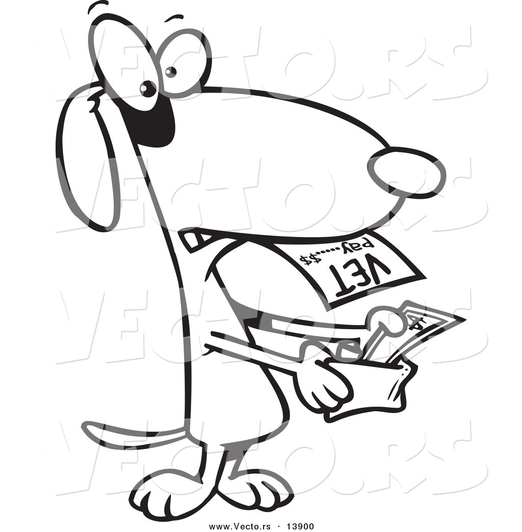 Free printable coloring pages veterinarians - Vector Of A Cartoon Dog Pulling Cash Out Of His Wallet To Pay A Vet Bill