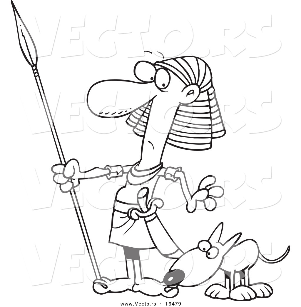 Vector of a Cartoon Dog Sniffing an Egyptian Guards Foot