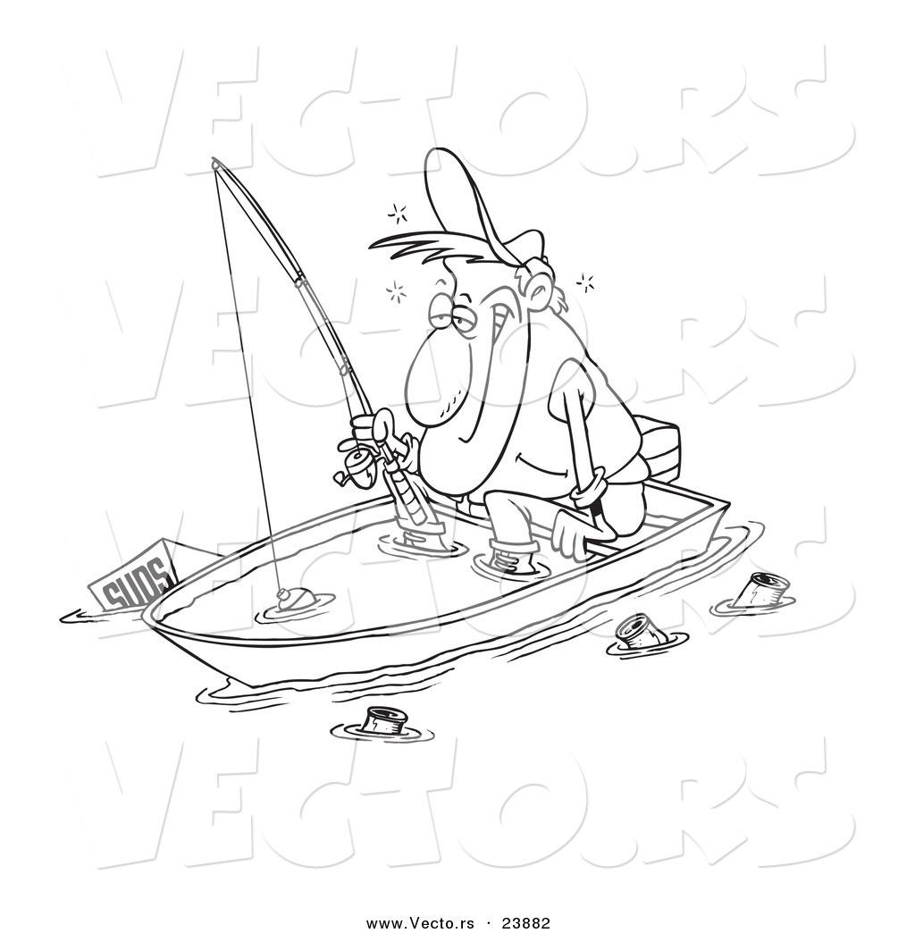 Vector Of A Cartoon Drunk Man Fishing In Sinking Boat