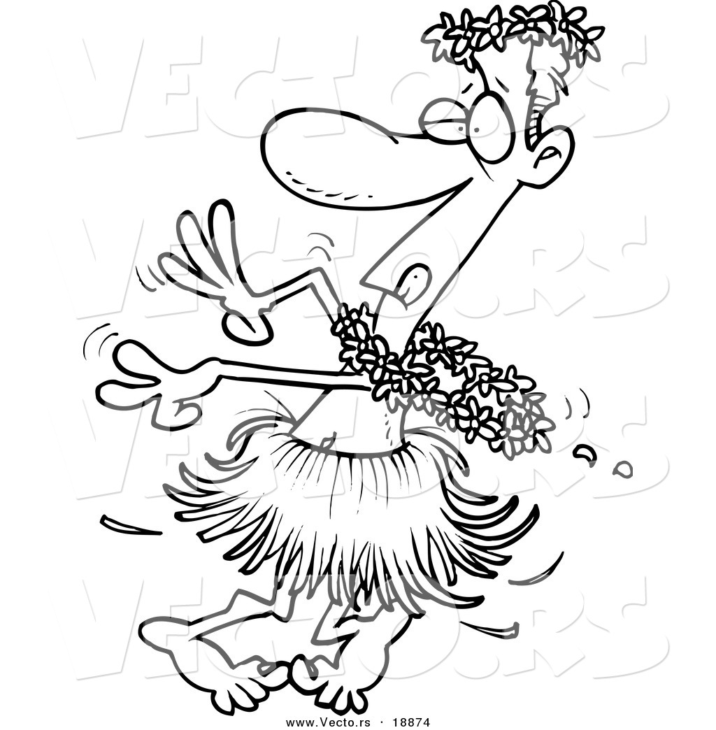 vector of a cartoon drunk man hula dancing outlined coloring