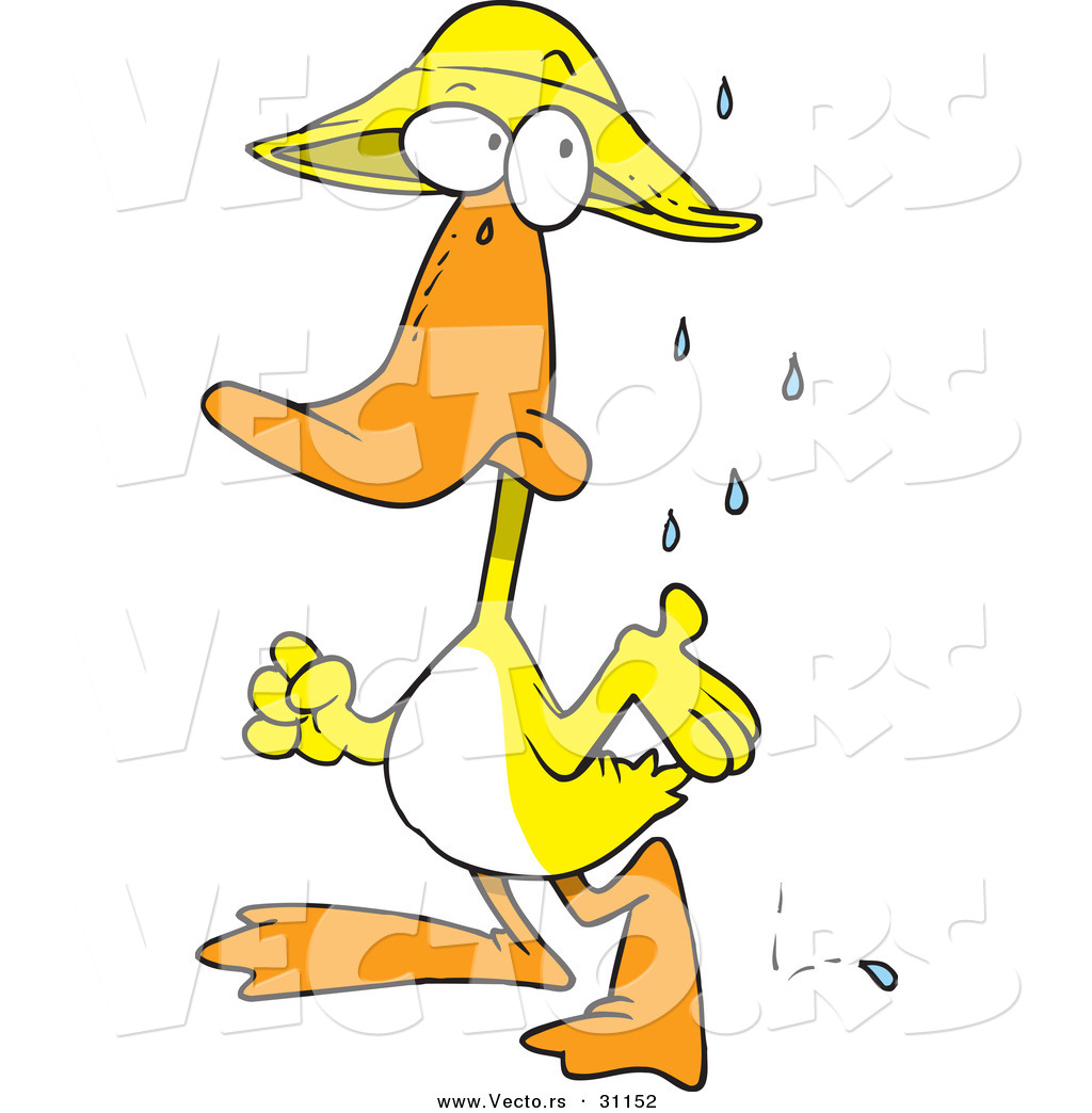 Vector of a Cartoon Duck Wearing Rain Hat and Waiting for Stormy ...