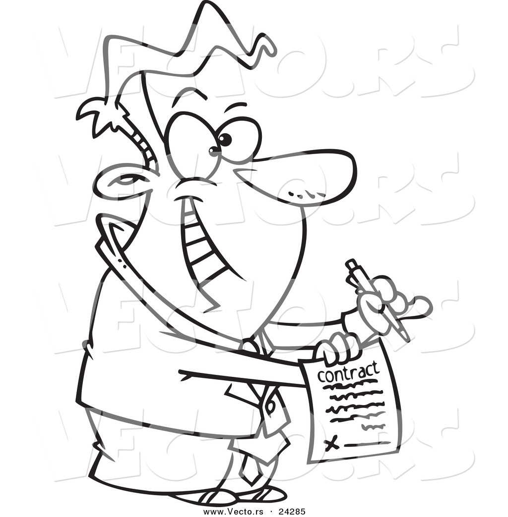 Vector of a Cartoon Eager Businessman Holding a Contract - Outlined ...
