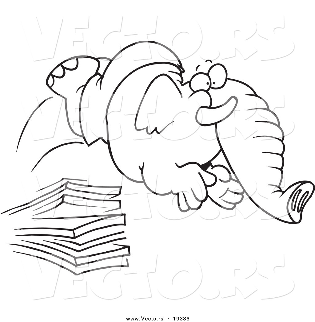 vector of a cartoon elephant jumping off a diving board outlined