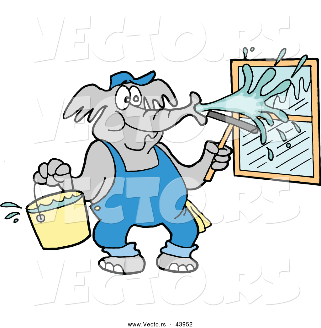 vector of a cartoon elephant pressure washing window with water