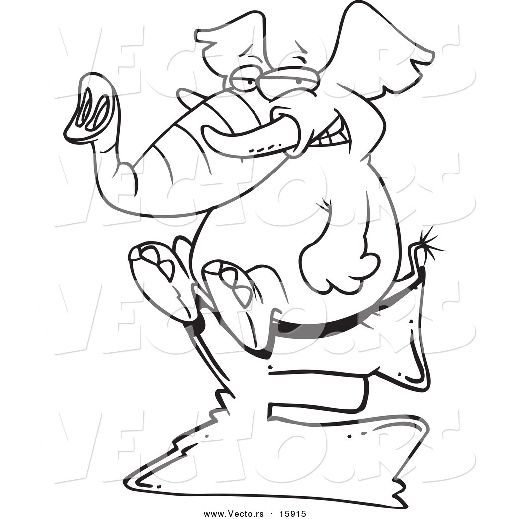 vector of a cartoon elephant sitting on a letter e outlined