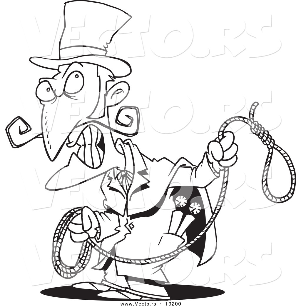 vector of a cartoon evil man with a noose outlined coloring page