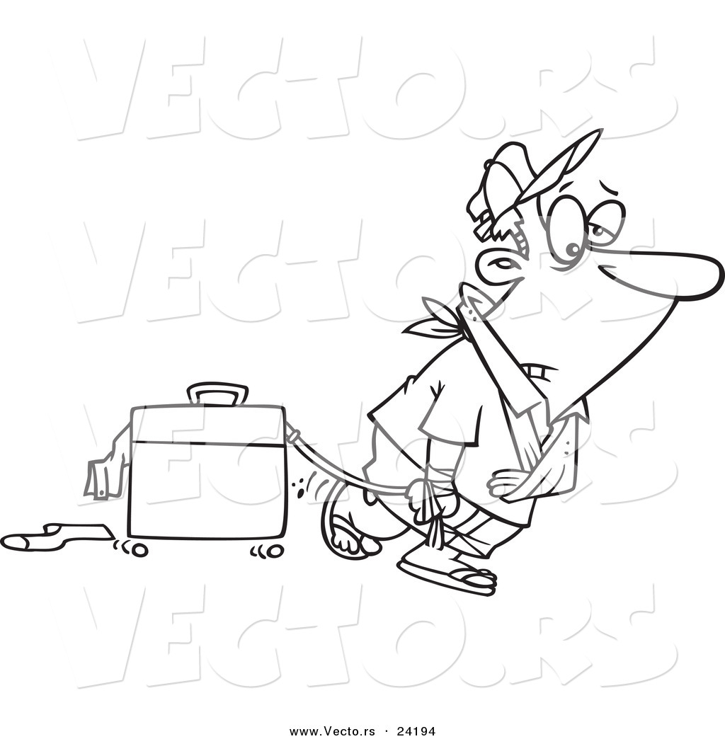 vector of a cartoon exhausted man after vacation coloring page