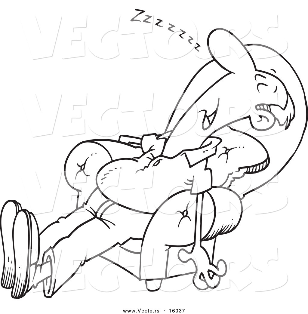 Vector Of A Cartoon Exhausted Man Sleeping In An Arm Chair
