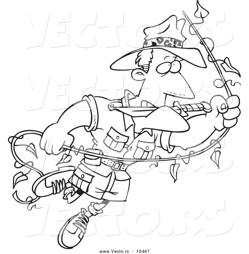 Vector Of A Cartoon Explorer Man Swinging On A Vine Coloring Page