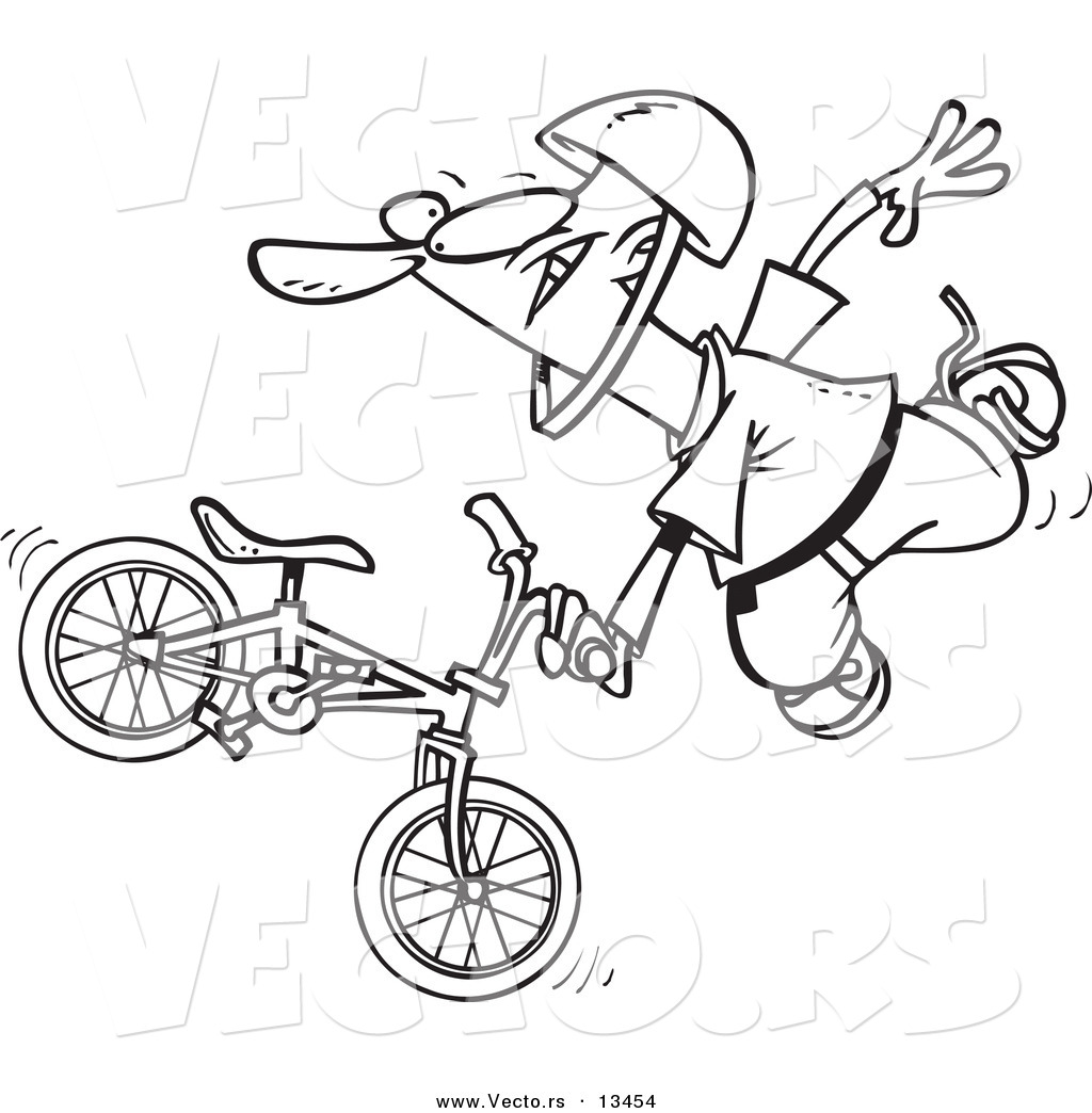 Uncategorized Bmx Coloring Pages vector of a cartoon extreme bmx biker doing trick coloring page outline
