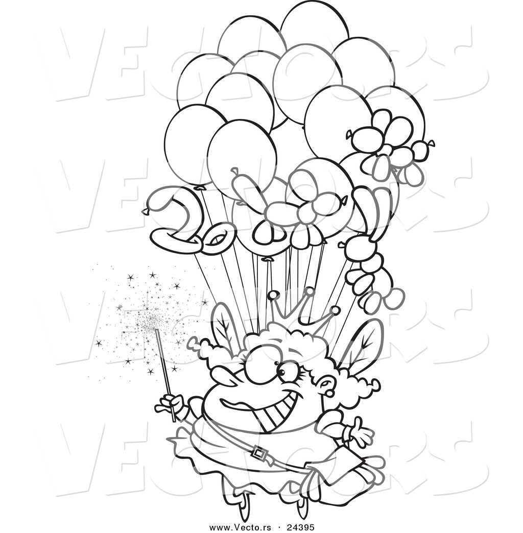 vector of a cartoon fairy floating with balloons outlined