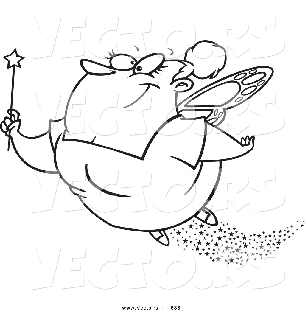 vector of a cartoon fairy godmother flying outlined coloring
