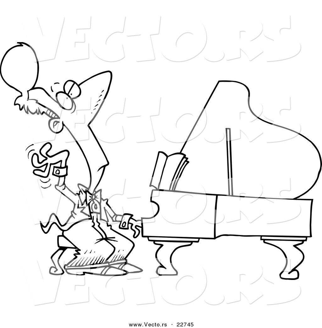 vector of a cartoon fancy pianist