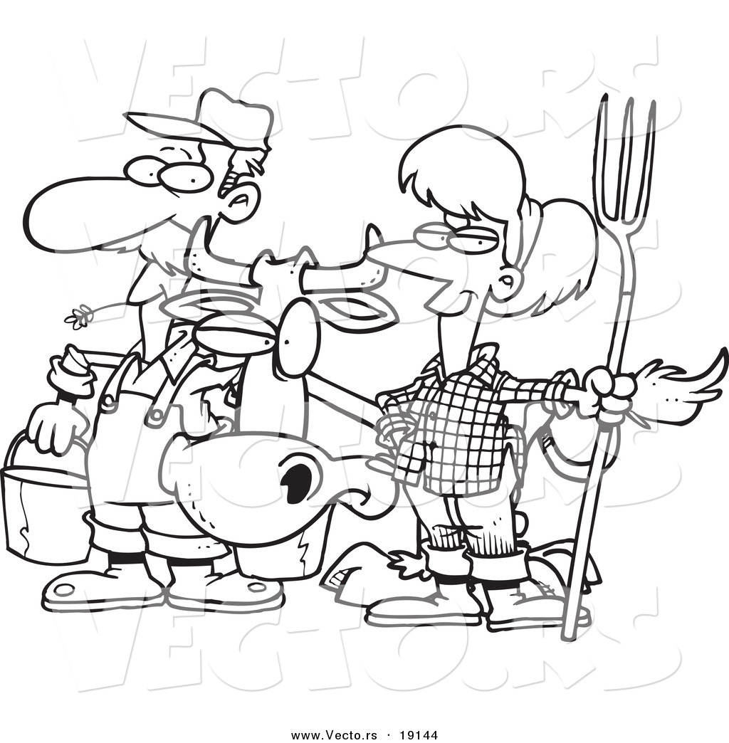 vector of a cartoon farmer couple with a cow outlined coloring