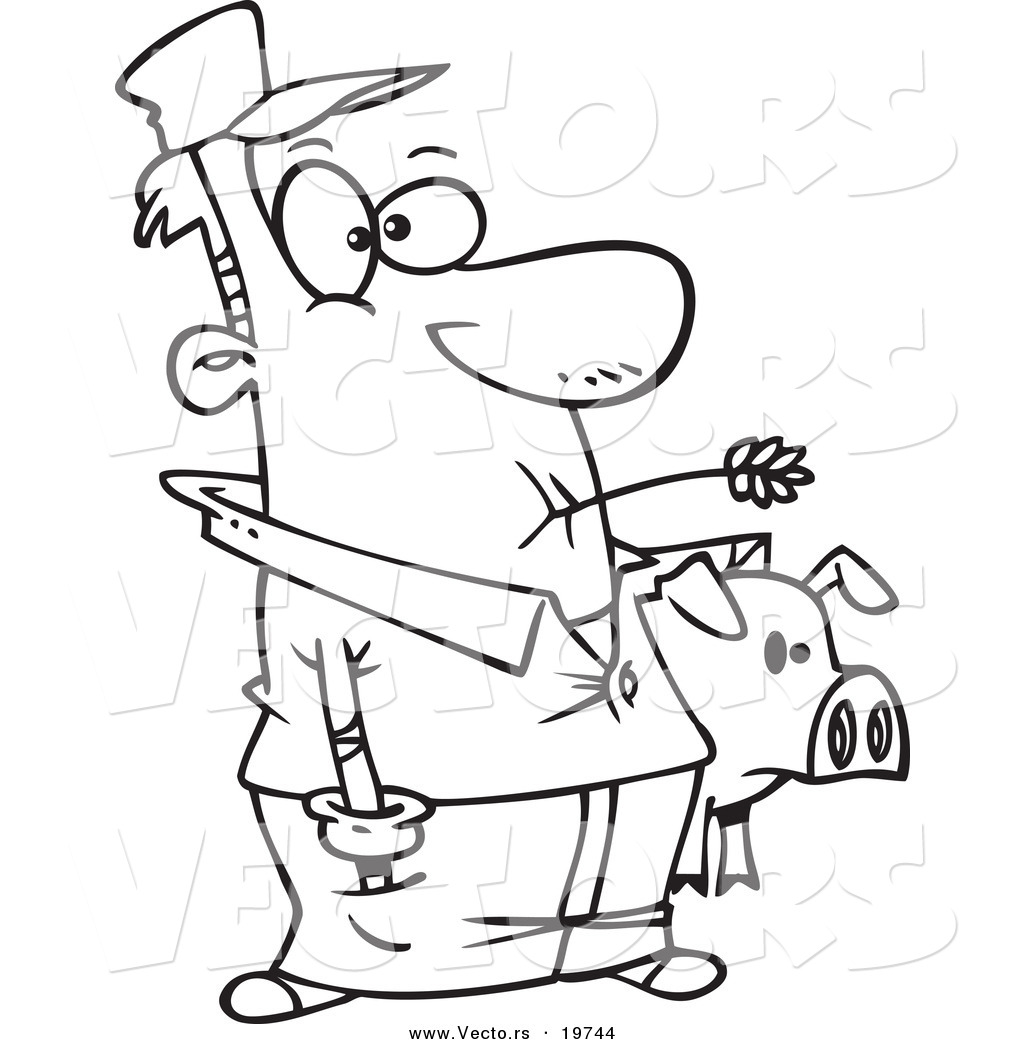 vector of a cartoon farmer holding his pig outlined coloring