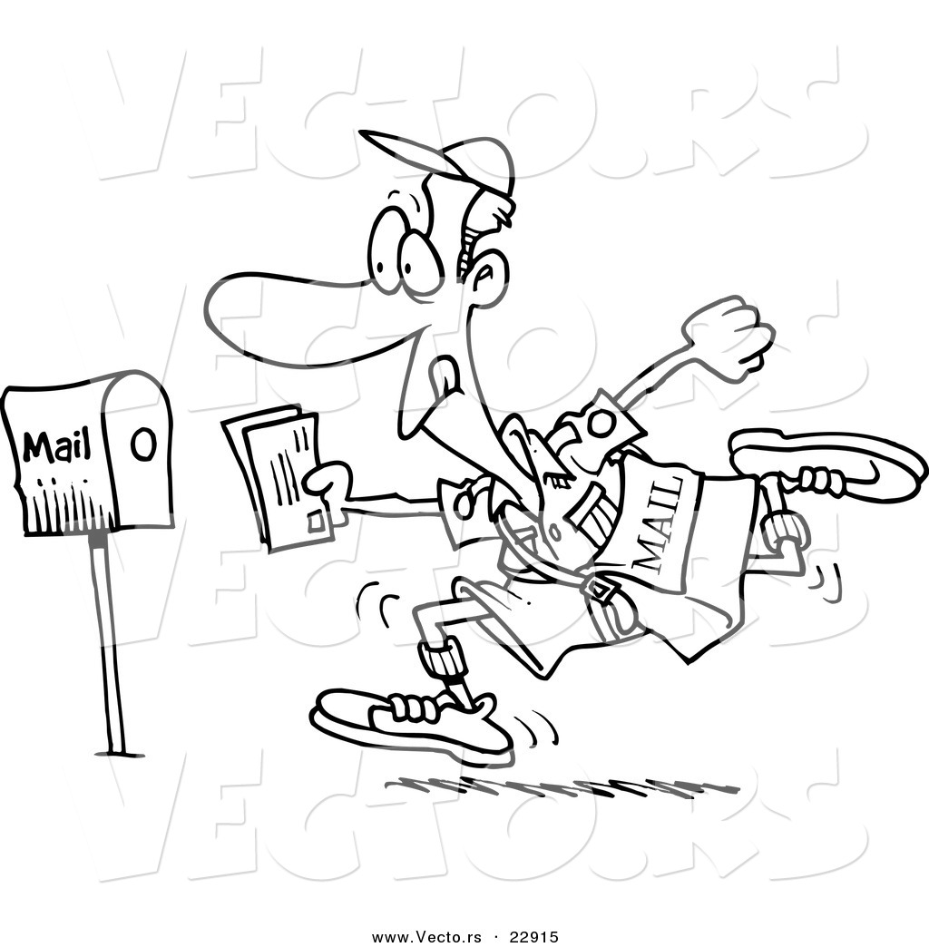 Free coloring pages by mail - Vector Of A Cartoon Fast Post Man Coloring Page Outline
