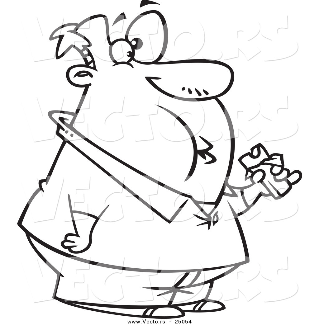 Vector of a Cartoon Fat Man Eating a Chocolate Candy Bar Outlined