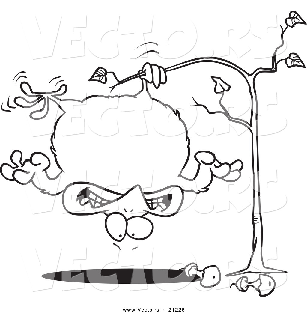 Vector of a Cartoon Fat Partridge Hanging Upside down in a Pear